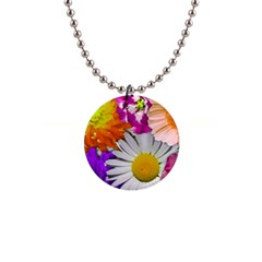 Lovely Flowers,purple Button Necklace