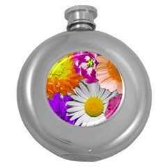 Lovely Flowers,purple Hip Flask (Round)