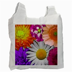 Lovely Flowers,purple White Reusable Bag (two Sides)