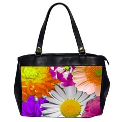 Lovely Flowers,purple Oversize Office Handbag (Two Sides)