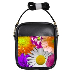 Lovely Flowers,purple Girl s Sling Bag