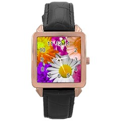 Lovely Flowers,purple Rose Gold Leather Watch