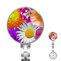 Lovely Flowers,purple Stainless Steel Nurses Watch