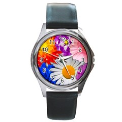 Lovely Flowers, Blue Round Leather Watch (Silver Rim)