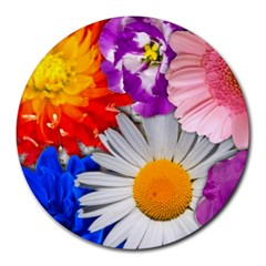 Lovely Flowers, Blue 8  Mouse Pad (Round)