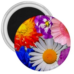 Lovely Flowers, Blue 3  Button Magnet