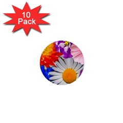 Lovely Flowers, Blue 1  Mini Button (10 pack)