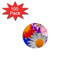 Lovely Flowers, Blue 1  Mini Button Magnet (100 pack)
