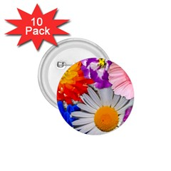 Lovely Flowers, Blue 1.75  Button (10 pack)