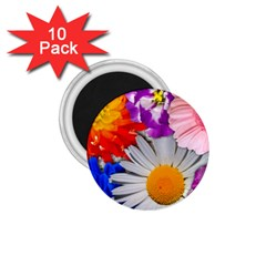 Lovely Flowers, Blue 1.75  Button Magnet (10 pack)