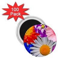 Lovely Flowers, Blue 1 75  Button Magnet (100 Pack)