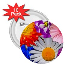 Lovely Flowers, Blue 2 25  Button (10 Pack)