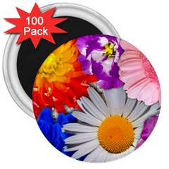 Lovely Flowers, Blue 3  Button Magnet (100 Pack)