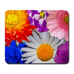 Lovely Flowers, Blue Large Mouse Pad (Rectangle)