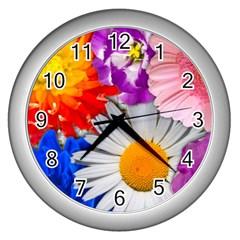 Lovely Flowers, Blue Wall Clock (Silver)