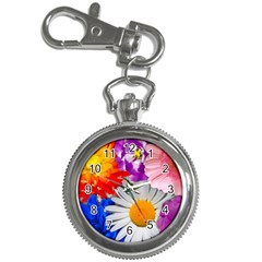 Lovely Flowers, Blue Key Chain Watch