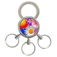 Lovely Flowers, Blue 3-Ring Key Chain