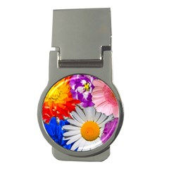 Lovely Flowers, Blue Money Clip (round)
