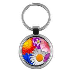 Lovely Flowers, Blue Key Chain (Round)