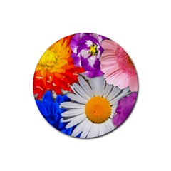 Lovely Flowers, Blue Drink Coaster (Round)