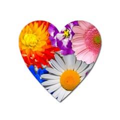 Lovely Flowers, Blue Magnet (Heart)