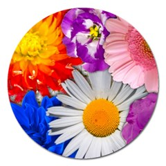 Lovely Flowers, Blue Magnet 5  (Round)
