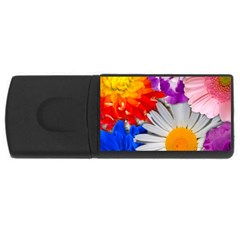 Lovely Flowers, Blue 1GB USB Flash Drive (Rectangle)