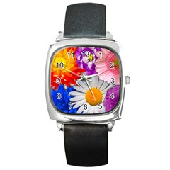 Lovely Flowers, Blue Square Leather Watch