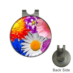 Lovely Flowers, Blue Hat Clip with Golf Ball Marker