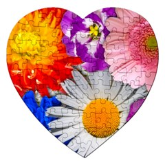 Lovely Flowers, Blue Jigsaw Puzzle (Heart)