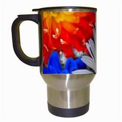 Lovely Flowers, Blue Travel Mug (White)