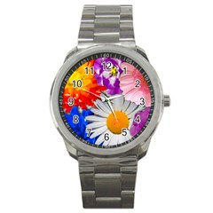 Lovely Flowers, Blue Sport Metal Watch