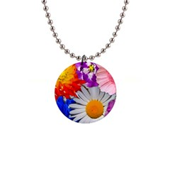 Lovely Flowers, Blue Button Necklace