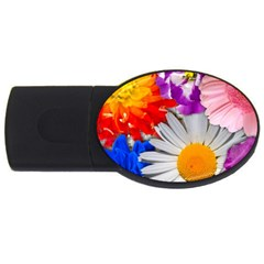 Lovely Flowers, Blue 4GB USB Flash Drive (Oval)