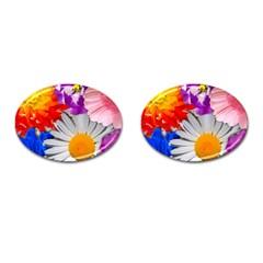 Lovely Flowers, Blue Cufflinks (Oval)