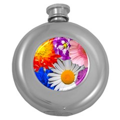 Lovely Flowers, Blue Hip Flask (round)
