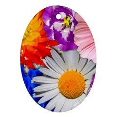 Lovely Flowers, Blue Oval Ornament (Two Sides)