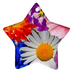 Lovely Flowers, Blue Star Ornament (Two Sides)
