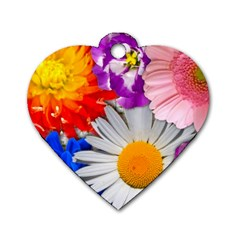 Lovely Flowers, Blue Dog Tag Heart (one Sided)