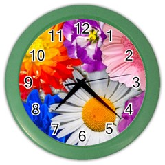 Lovely Flowers, Blue Wall Clock (Color)