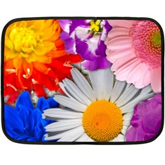Lovely Flowers, Blue Mini Fleece Blanket (Two Sided)
