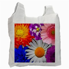 Lovely Flowers, Blue White Reusable Bag (One Side)