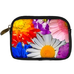 Lovely Flowers, Blue Digital Camera Leather Case
