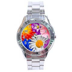 Lovely Flowers, Blue Stainless Steel Watch