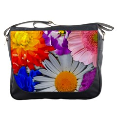Lovely Flowers, Blue Messenger Bag