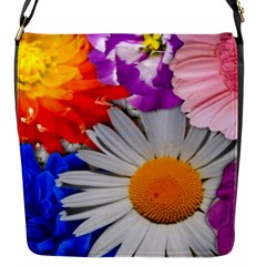 Lovely Flowers, Blue Flap Closure Messenger Bag (Small)