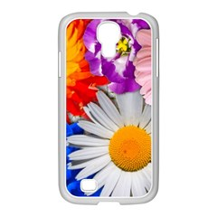 Lovely Flowers, Blue Samsung GALAXY S4 I9500/ I9505 Case (White)