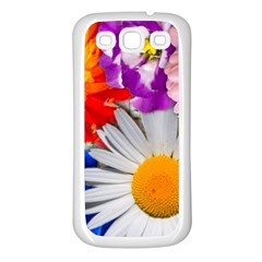 Lovely Flowers, Blue Samsung Galaxy S3 Back Case (White)
