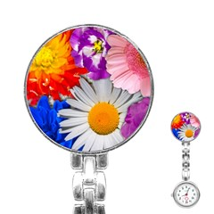 Lovely Flowers, Blue Stainless Steel Nurses Watch