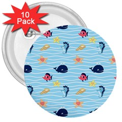 Fun Fish of the Ocean 3  Button (10 pack)